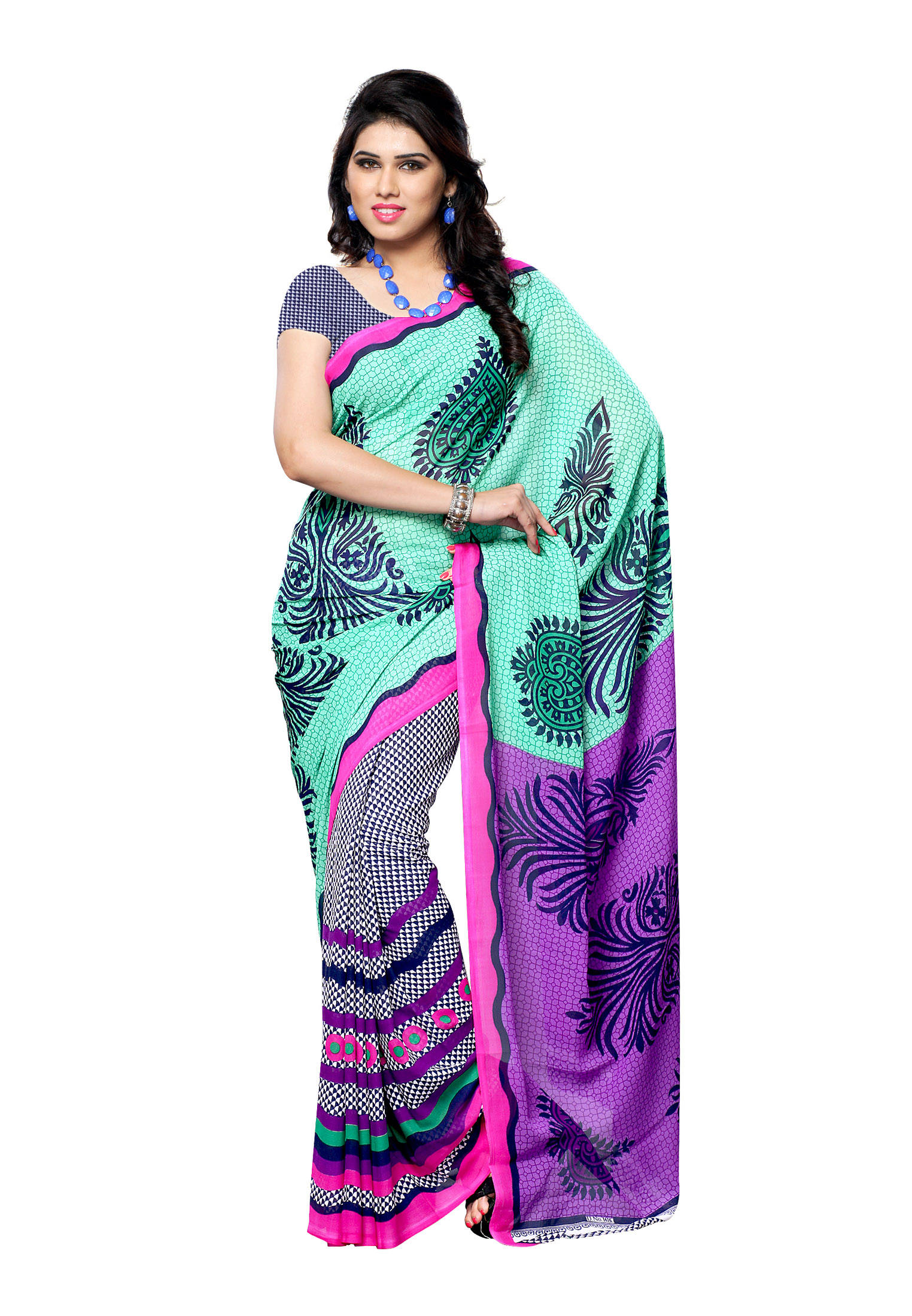 upto 65 off on georgette printed sarees with designer blouse