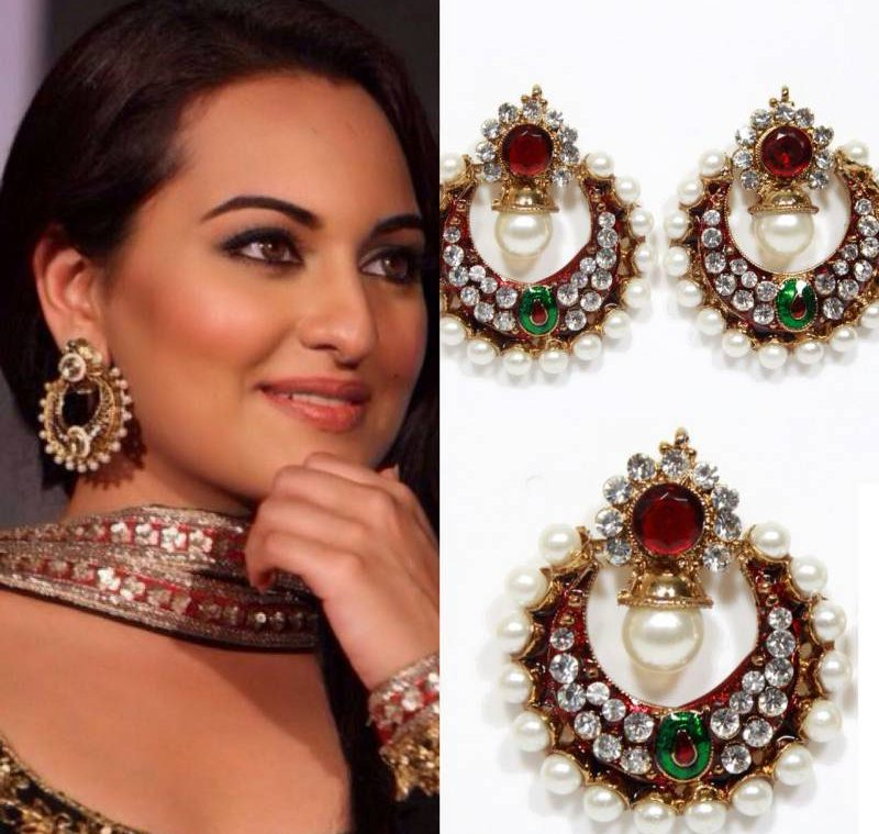Sonakshi Bollywood Replica Earrings In Maroon