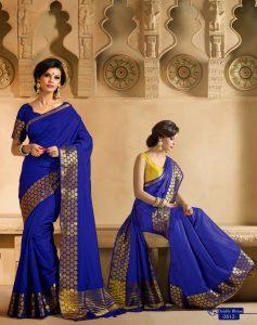 Blue zari silk saree